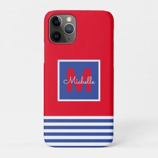 Modern Monogram Striped Navy Red iPhone 11 Pro Case