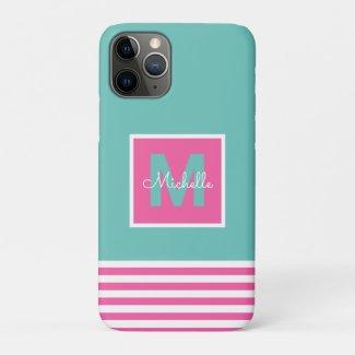Modern Monogram Striped Pink Aqua iPhone 11 Pro Case