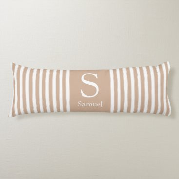 Beach Themed Modern Monogram Stripes in Brown Tan and White Body Pillow