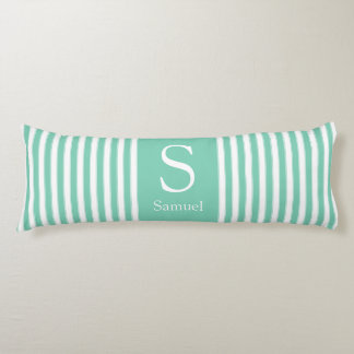 Modern Monogram Stripes in Mint Green and White Body Pillow