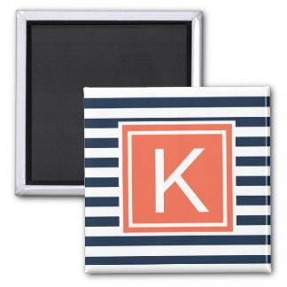 Modern Monogram Stripes Magent 2 Inch Square Magnet
