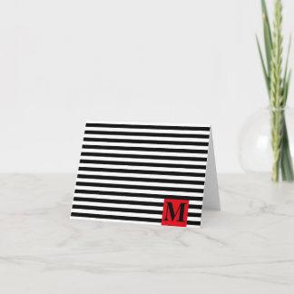 Modern Monogram Stripes Note Card