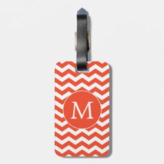 Modern Monogram Tangererine Chevron Stripes Travel Bag Tags