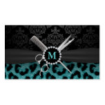 Modern Monogram Teal Leopard Print Hair Stylist Double-Sided Standard Business Cards (Pack Of 100)