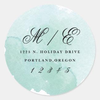 Modern monogram watercolor return address sticker