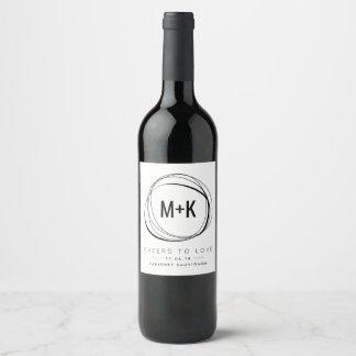 Modern Monogram Wedding Favor Wine Labels