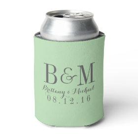 Modern Monogram Wedding Koozie | Mint Green Can Cooler