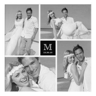 Modern Monogram Wedding Photo Collage Acrylic Art
