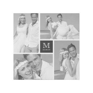 Modern Monogram Wedding Photo Collage Gallery Wrap