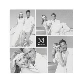 Modern Monogram Wedding Photo Collage Metal Art