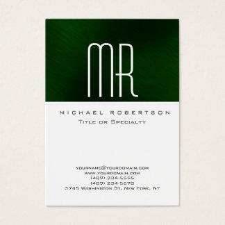 Modern Monogram White Green Clean Business Card