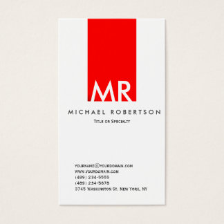 Modern Monogram White Red Clean Business Card