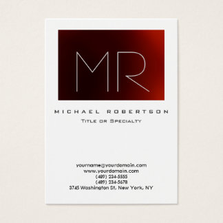 Modern Monogram White Red Large Business Card