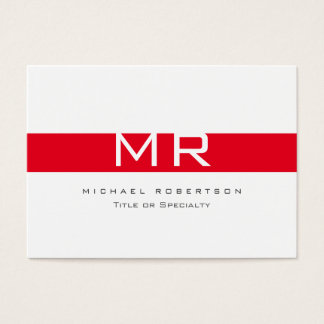 Modern Monogram White Red Stripe Business Card