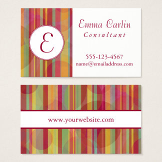 Modern Monogram with Colorful Stripes & Circles Business Card