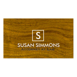 Modern Monogram with Name on Wood Print Double-Sided Standard Business Cards (Pack Of 100)