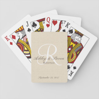 Modern Monogram with Rustic Linen Playing Cards