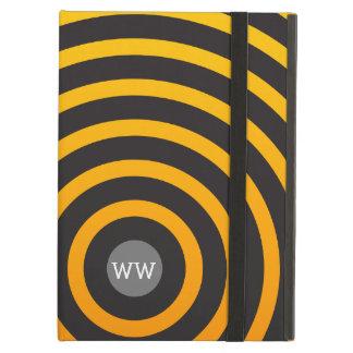 Modern Monogram Yellow and Black Circles iPad Air Covers
