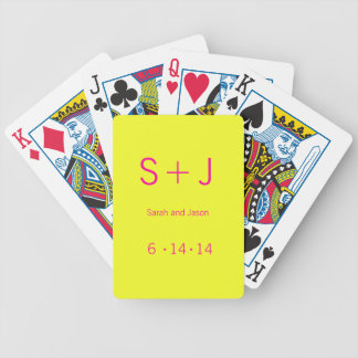 Modern Monogram - Yellow and Pink Bicycle Playing Cards