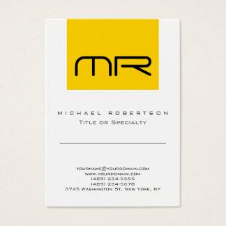 Modern Monogram Yellow White Cute Business Card