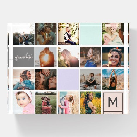 Modern monogram your family 16 photo collage grid paperweight