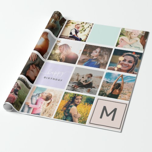 Modern monogram your family 16 photo collage grid wrapping paper