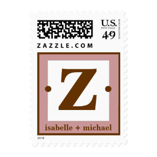 Modern Monogram Z Rose Pink & Chocolate Brown Stamps