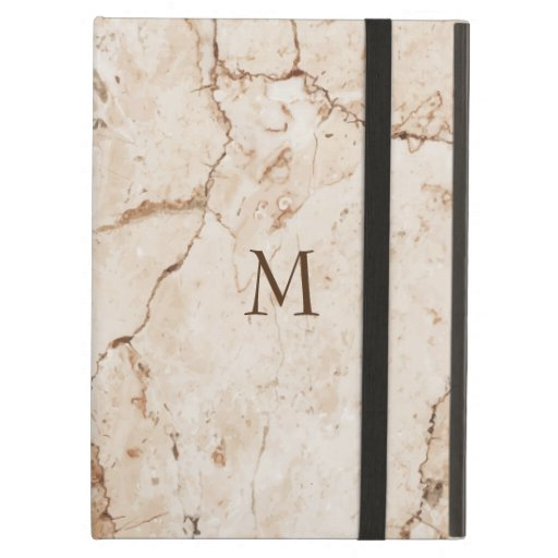 Modern Monogrammed Beige Marbled Case For iPad Air