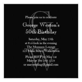 Modern Monogrammed Birthday Invitation black