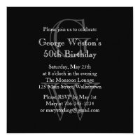 Modern Monogrammed Birthday Invitation  (black)
