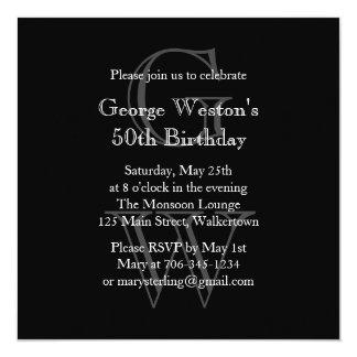 Modern Monogrammed Birthday Invitation  (black)