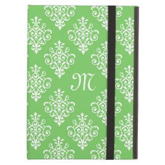 Modern Monogrammed Bright Green Damask Pattern iPad Air Cover