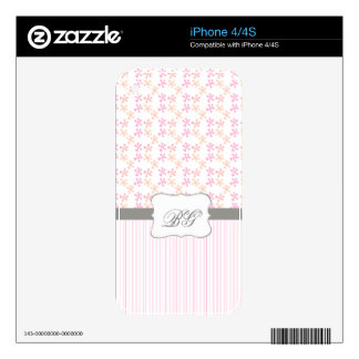 Modern Monogrammed Initials Girly Pink iPhone 4S Skin