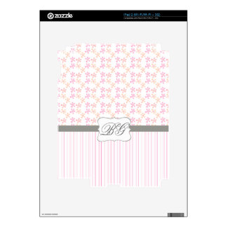 Modern Monogrammed Initials Girly Pink Decal For The iPad 2