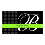 Modern Monogrammed Interior Design Lime Black Grey Business Card