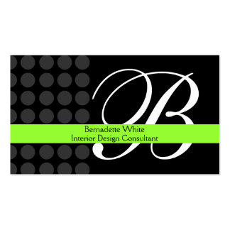 Modern Monogrammed Interior Design Lime Black Grey Double-Sided Standard Business Cards (Pack Of 100)