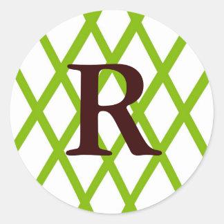 Modern Monogrammed Lattice in Lime Green Round Sticker