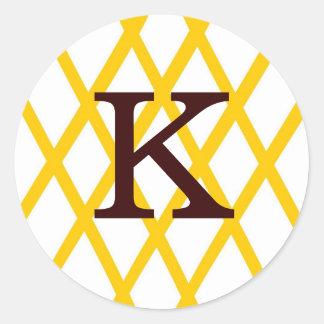 Modern Monogrammed Lattice in Yellow Round Sticker
