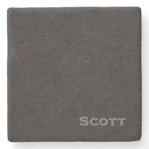 Modern Monogrammed Masculine Black Leather Look Stone Coaster