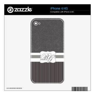 Modern Monogrammed  Polka Dots and Stripes Skin For The iPhone 4S