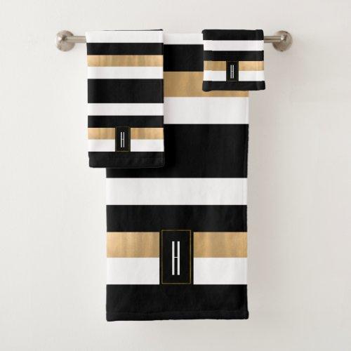 Modern Monogrammed Striped Bath Towel Set