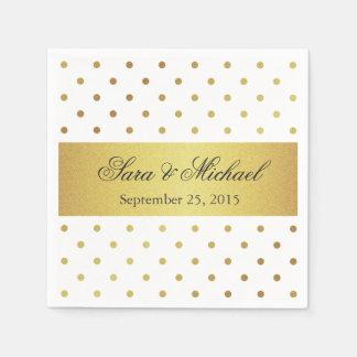 Modern Monogrammed - White and Gold Polka Dots Napkin