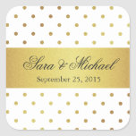 Modern Monogrammed - White and Gold Polka Dots Square Stickers