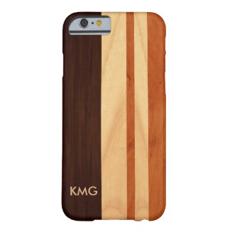 Modern Monogrammed Wood Stripes Look Barely There iPhone 6 Case