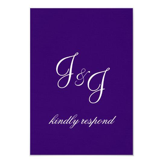 Modern Monograms Purple Wedding Invitation RSVP