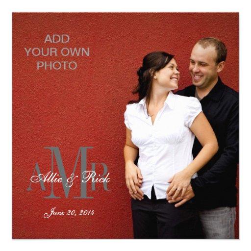 Modern Monograms with Photo Wedding Invitations