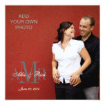 "Modern Monograms with Photo Wedding Invitations 5.25"" Square Invitation Card"