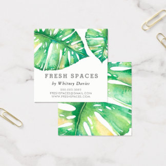 MODERN MONSTERA LEAF stylish health green Square Business Card