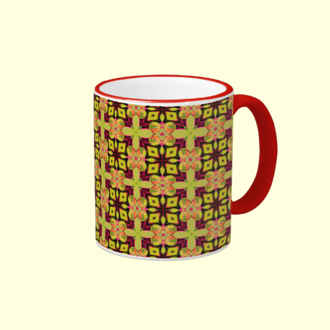 Modern Moroccan Lattice Cross Diamond Quilt Mugs