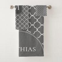 Modern Moroccan Pattern Grey Monogram Bath Towel Set